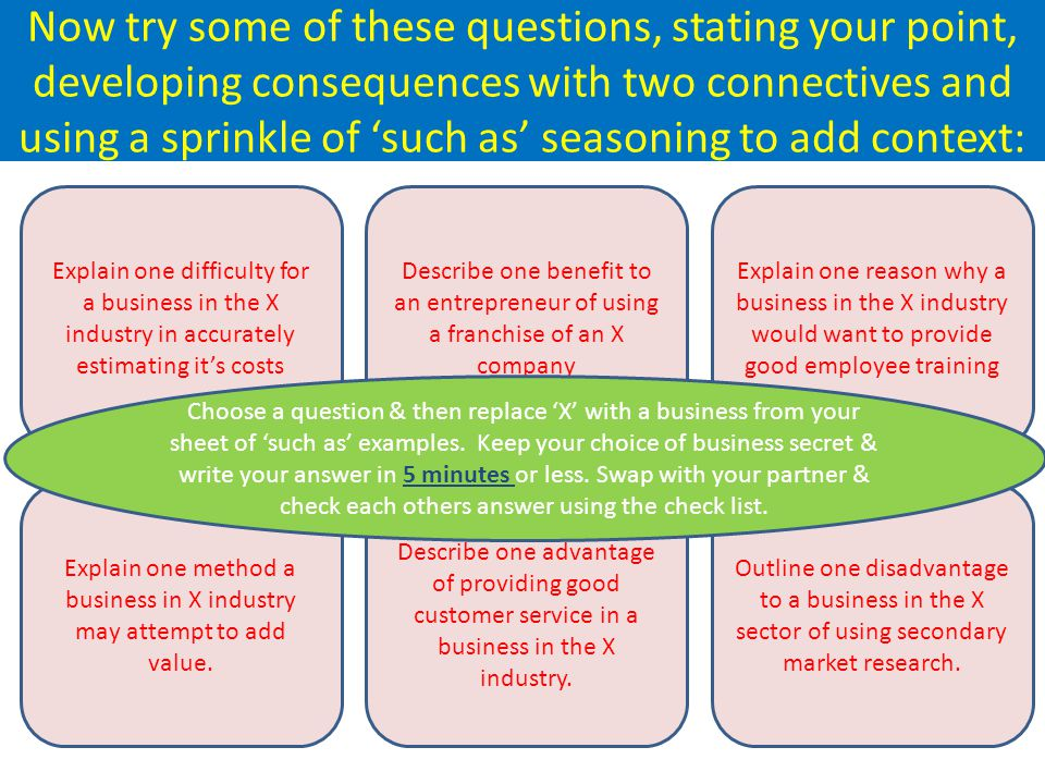 Explain one reason why a business in the X industry would want to provide good employee training Explain one difficulty for a business in the X industry in accurately estimating its costs Now try some of these questions, stating your point, developing consequences with two connectives and using a sprinkle of such as seasoning to add context: Explain one method a business in X industry may attempt to add value.
