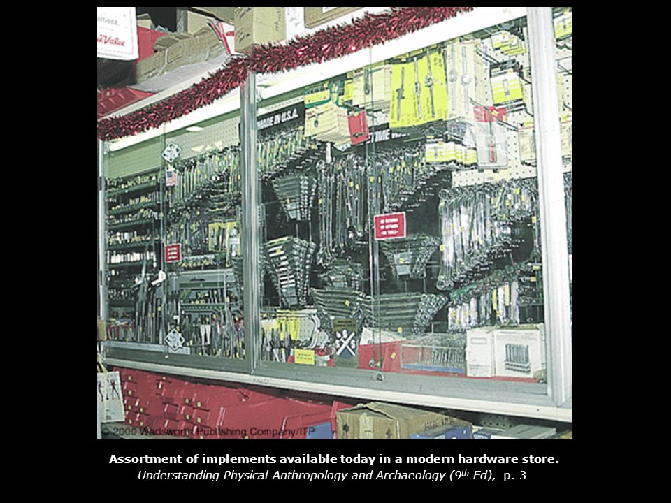 Assortment of implements available today in a modern hardware store.