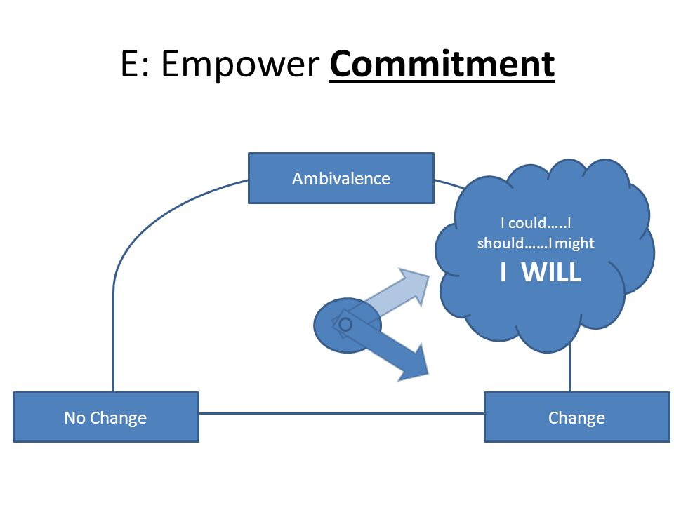 E: Empower Commitment No ChangeChange Ambivalence I could…..I should……I might I WILL