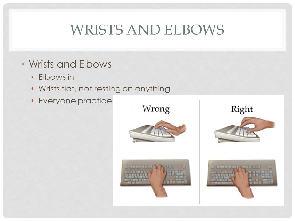 WRISTS AND ELBOWS Wrists and Elbows Elbows in Wrists flat, not resting on anything Everyone practice