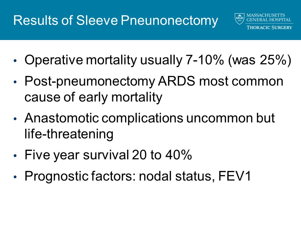 Results of Sleeve Pneunonectomy Operative mortality usually 7-10% (was 25%) Post-pneumonectomy ARDS most common cause of early mortality Anastomotic complications uncommon but life-threatening Five year survival 20 to 40% Prognostic factors: nodal status, FEV1