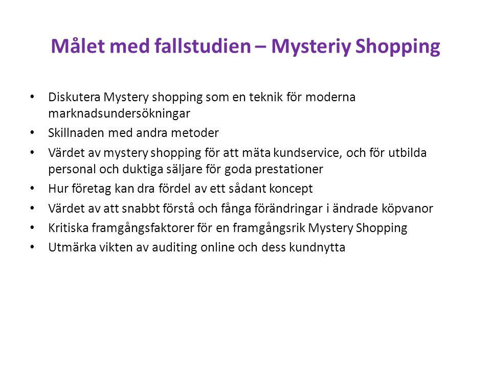 Målet med fallstudien – Mysteriy Shopping Diskutera Mystery shopping som en teknik för moderna marknadsundersökningar Skillnaden med andra metoder Vär
