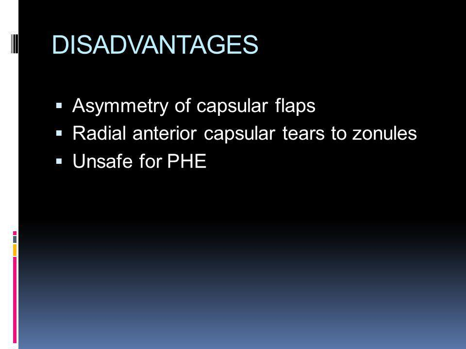 DISADVANTAGES Asymmetry of capsular flaps Radial anterior capsular tears to zonules Unsafe for PHE