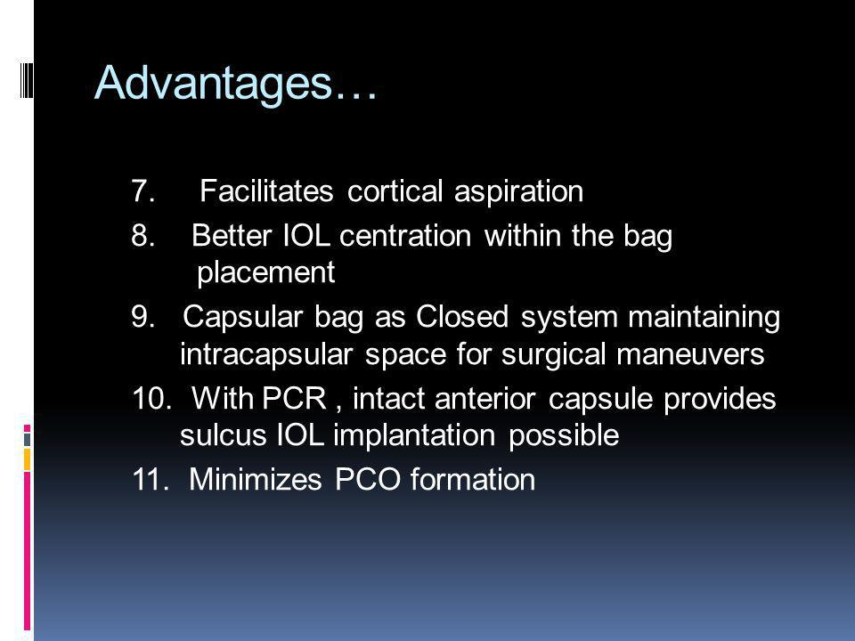 Advantages… 7. Facilitates cortical aspiration 8. Better IOL centration within the bag placement 9. Capsular bag as Closed system maintaining intracap