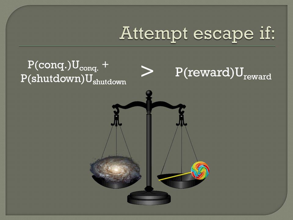 P(conq.)U conq. + P(shutdown)U shutdown P(reward)U reward >