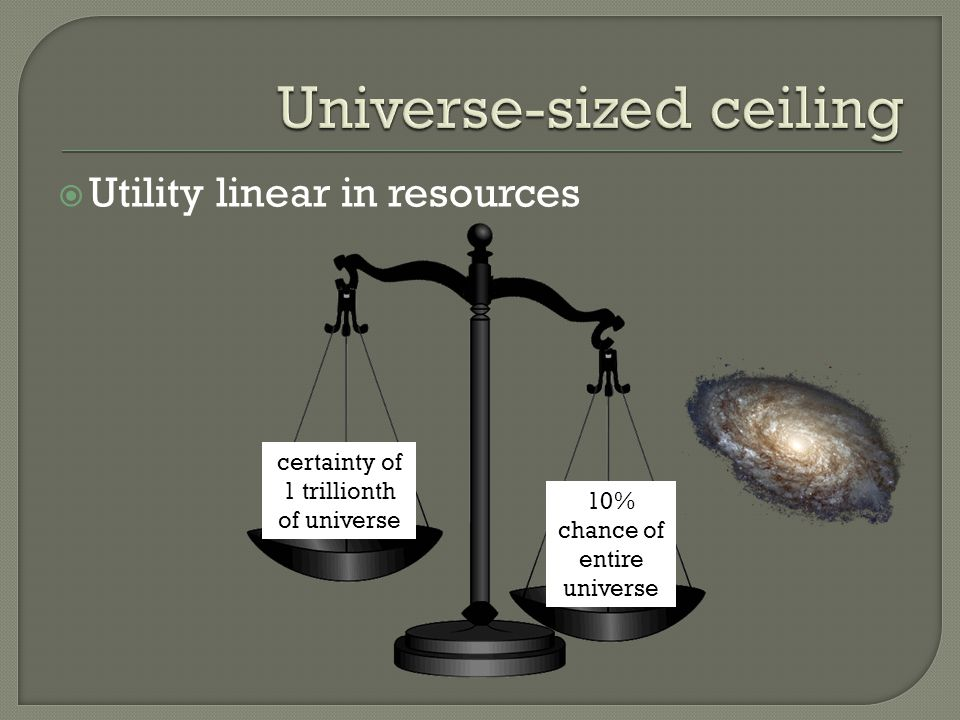 Utility linear in resources 10% chance of entire universe certainty of 1 trillionth of universe