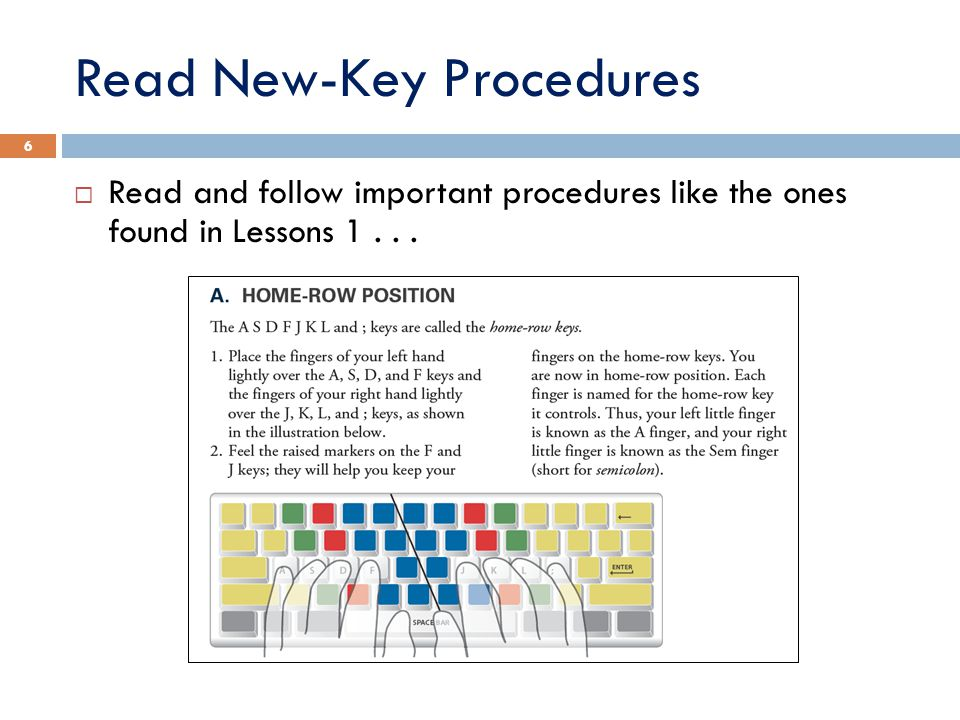 Read New-Key Procedures (contd)... and Lesson 2. 7