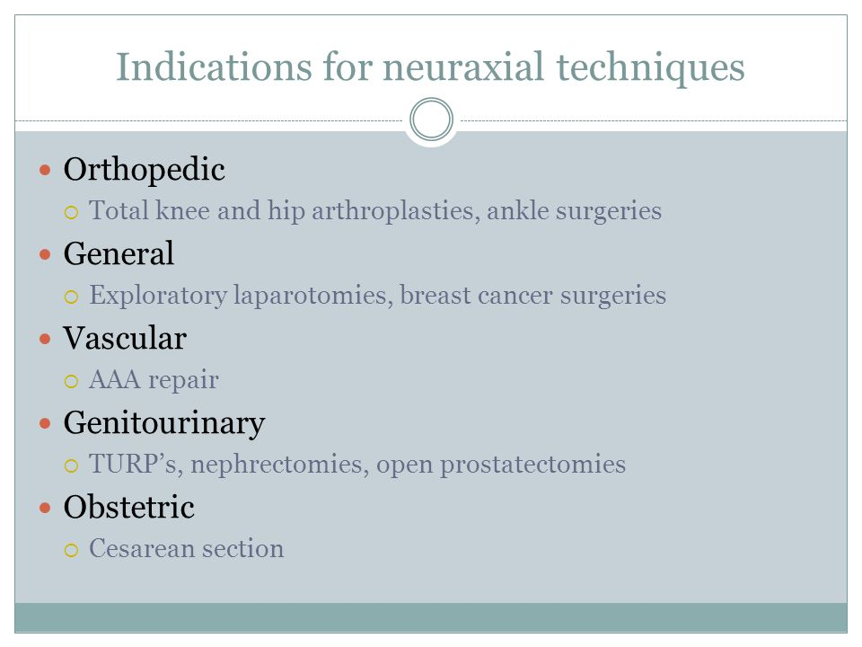 Absolute contraindications to neuraxial anesthesia Infection at the site of injection Patient refusal or inability to cooperate Coagulopathy or other bleeding diathesis Platelets>100,000 and INR <1.4 Severe hypovolemia Increased intracranial pressure Severe mitral/aortic stenosis Allergy to local anesthetics
