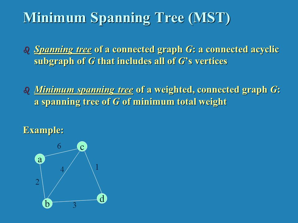 Minimum Spanning Tree (MST) b Spanning tree of a connected graph G: a connected acyclic subgraph of G that includes all of Gs vertices b Minimum spanning tree of a weighted, connected graph G: a spanning tree of G of minimum total weight Example: c d b a 6 2 4 3 1