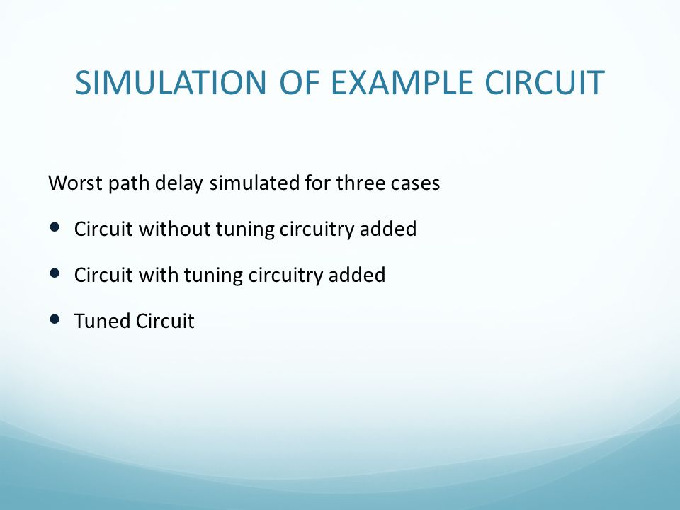 SIMULATION OF EXAMPLE CIRCUIT Worst path delay simulated for three cases Circuit without tuning circuitry added Circuit with tuning circuitry added Tu