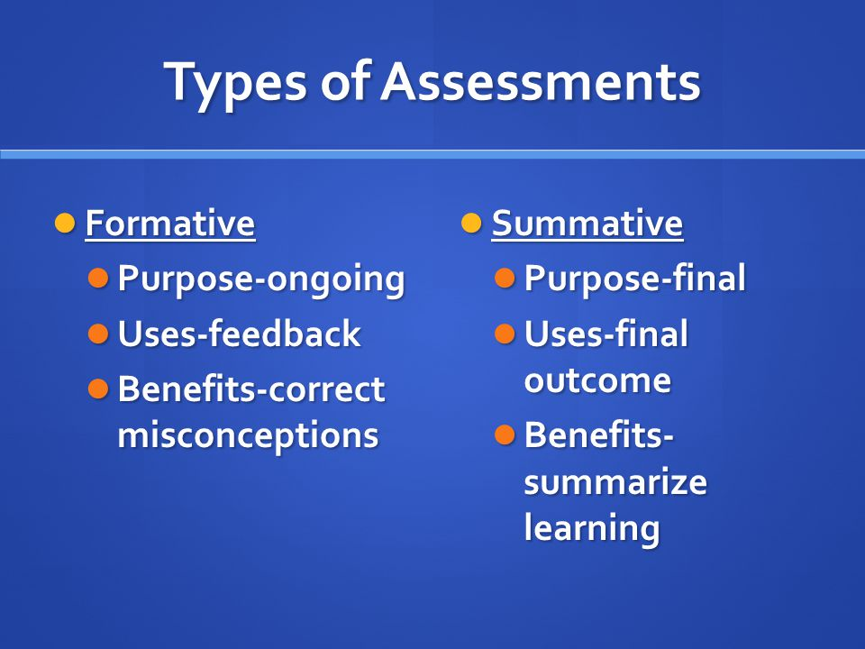Types of Assessments Formative Formative Purpose-ongoing Purpose-ongoing Uses-feedback Uses-feedback Benefits-correct misconceptions Benefits-correct misconceptions Summative Purpose-final Uses-final outcome Benefits- summarize learning