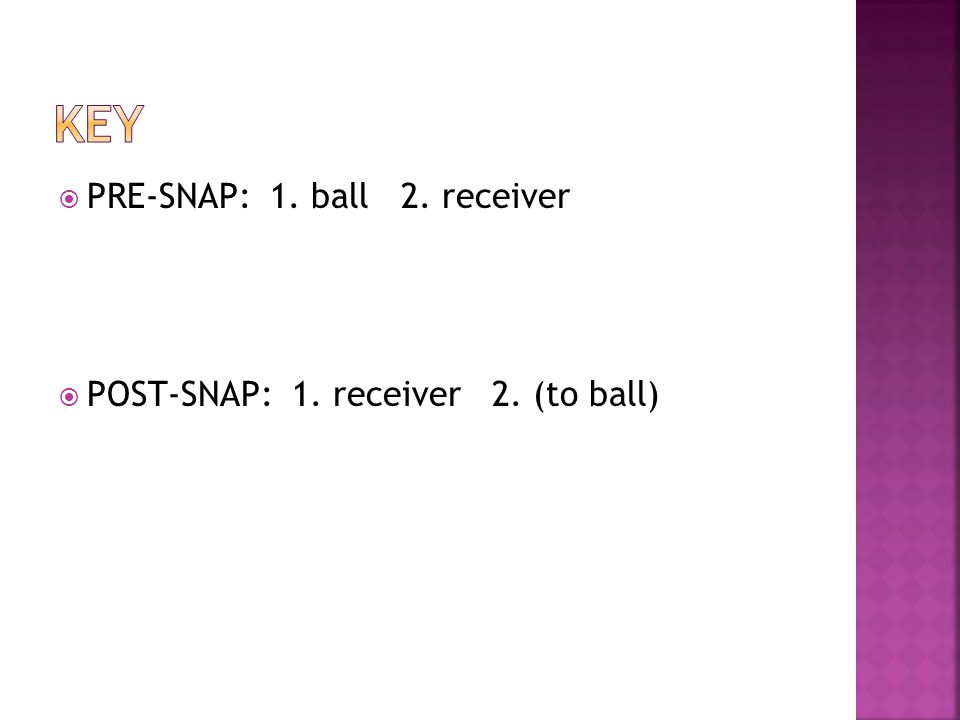On the snap, total focus goes to receivers hips/midsection Activate feet and soften slightly using a quick foot motor movement (lose ground from receiver) Keep DBs square shoulders on the receivers square shoulders as long as possible (dont side step, turn shoulders, and open the gate for the receiver to run by) DB mirrors the receivers hip movement as softening, trying to stay in front of & inside the receivers framework for as long as possible
