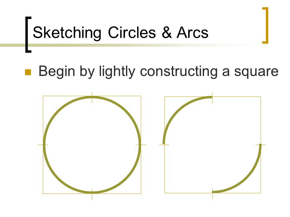 Sketching Circles & Arcs Begin by lightly constructing a square