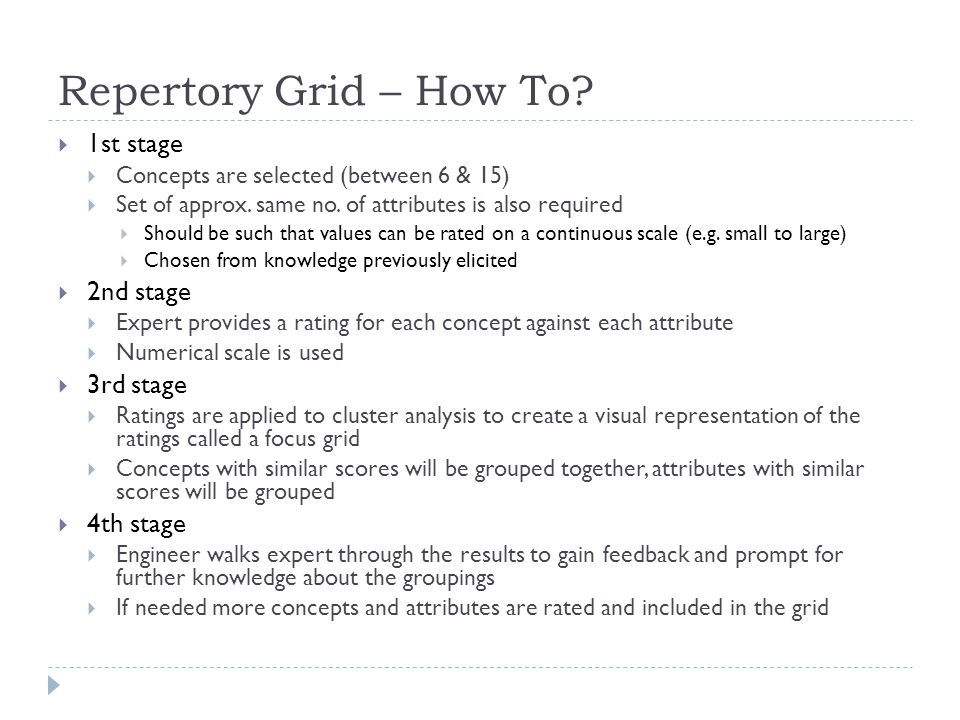 Repertory Grid – How To? 1st stage Concepts are selected (between 6 & 15) Set of approx. same no. of attributes is also required Should be such that v