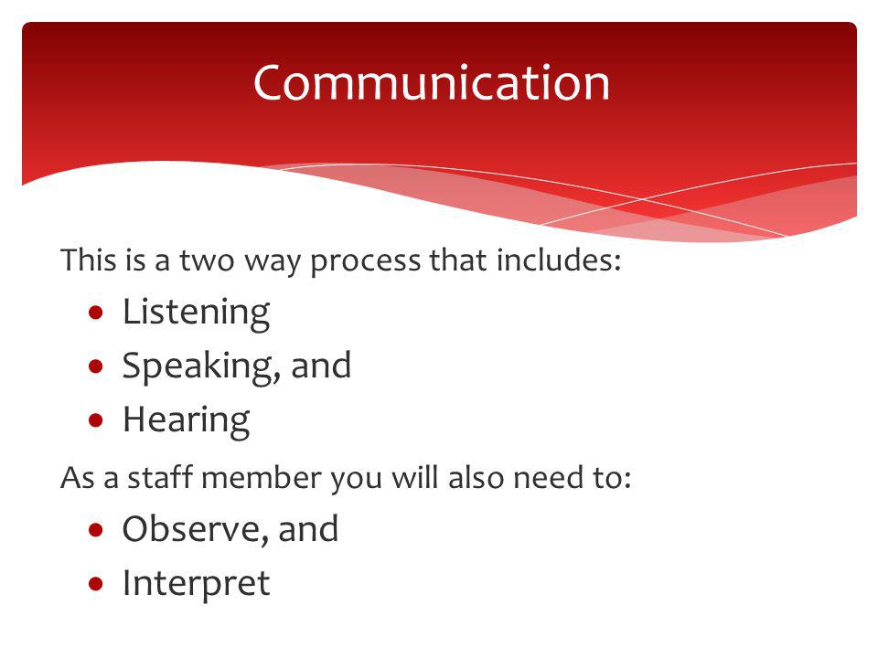 This is a two way process that includes: Listening Speaking, and Hearing As a staff member you will also need to: Observe, and Interpret Communication