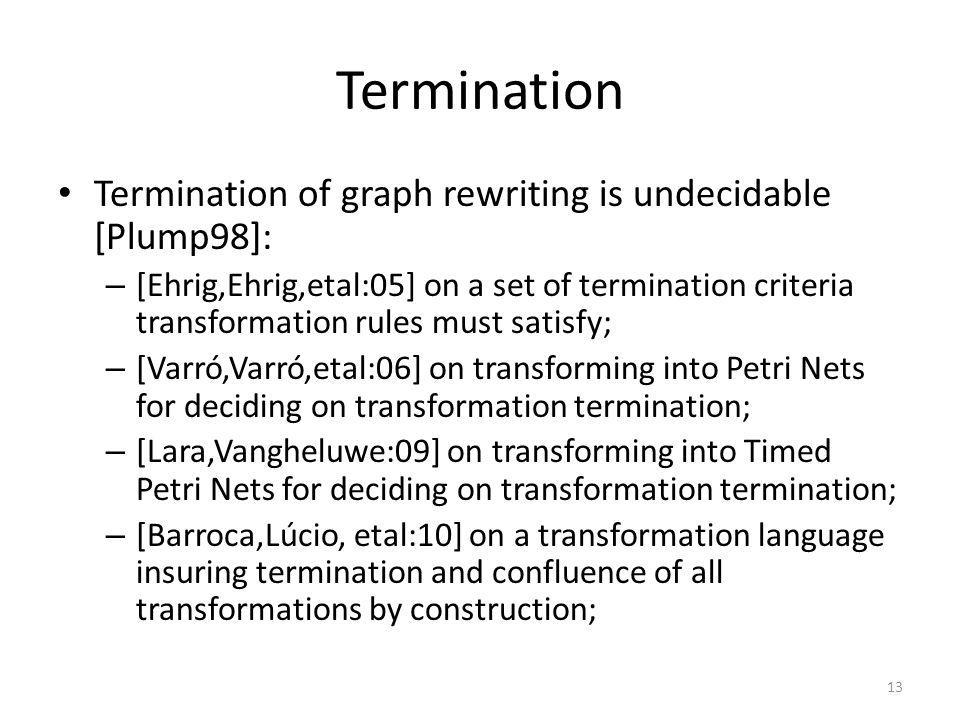Termination Termination of graph rewriting is undecidable [Plump98]: – [Ehrig,Ehrig,etal:05] on a set of termination criteria transformation rules mus
