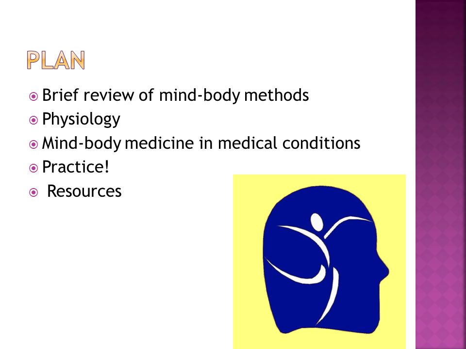 Brief review of mind-body methods Physiology Mind-body medicine in medical conditions Practice.