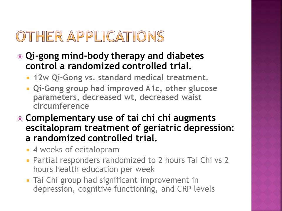 Qi-gong mind-body therapy and diabetes control a randomized controlled trial.