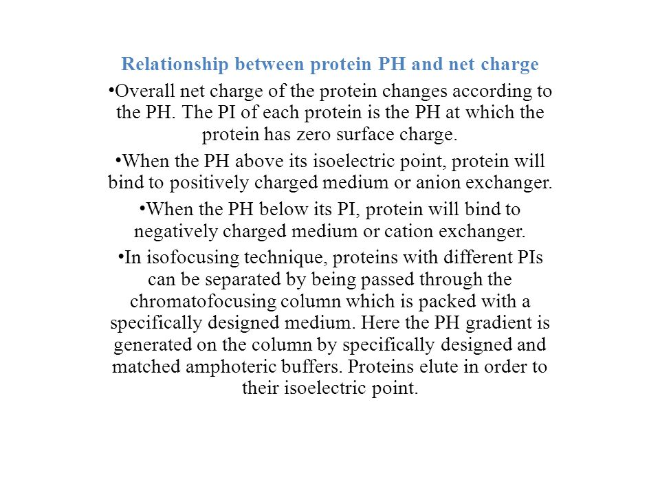 Relationship between protein PH and net charge Overall net charge of the protein changes according to the PH.
