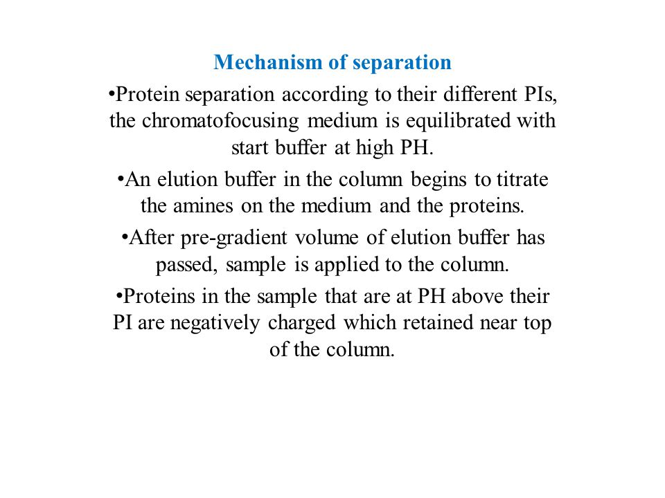 Proteins that are at a PH below their PI begin to migrate down the column and will not bind until their PH above their PI.