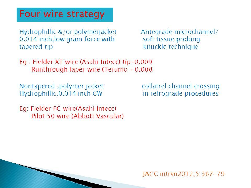 Four wire strategy Hydrophillic &/or polymerjacket Antegrade microchannel/ 0.014 inch,low gram force with soft tissue probing tapered tip knuckle technique Eg : Fielder XT wire (Asahi Intecc) tip-0.009 Runthrough taper wire (Terumo – 0.008 Nontapered,polymer jacket collatrel channel crossing Hydrophillic,0.014 inch GW in retrograde procedures Eg: Fielder FC wire(Asahi Intecc) Pilot 50 wire (Abbott Vascular) JACC intrvn2012;5:367-79