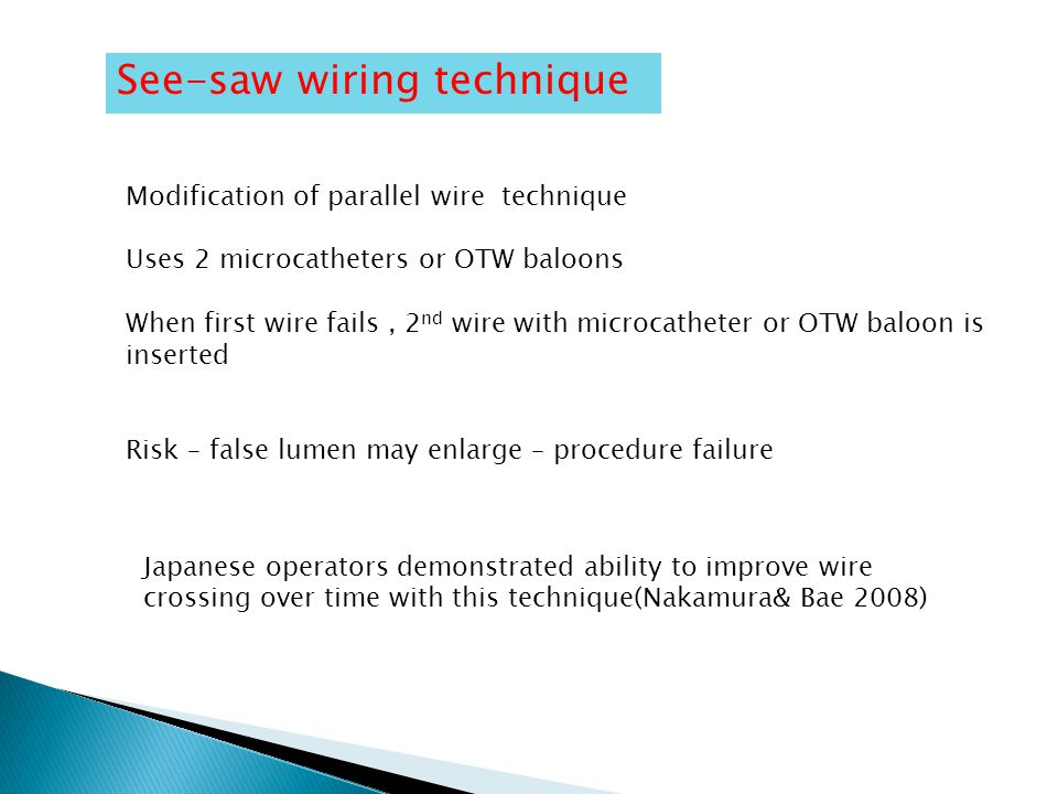 See-saw wiring technique Modification of parallel wire technique Uses 2 microcatheters or OTW baloons When first wire fails, 2 nd wire with microcatheter or OTW baloon is inserted Risk – false lumen may enlarge – procedure failure Japanese operators demonstrated ability to improve wire crossing over time with this technique(Nakamura& Bae 2008)