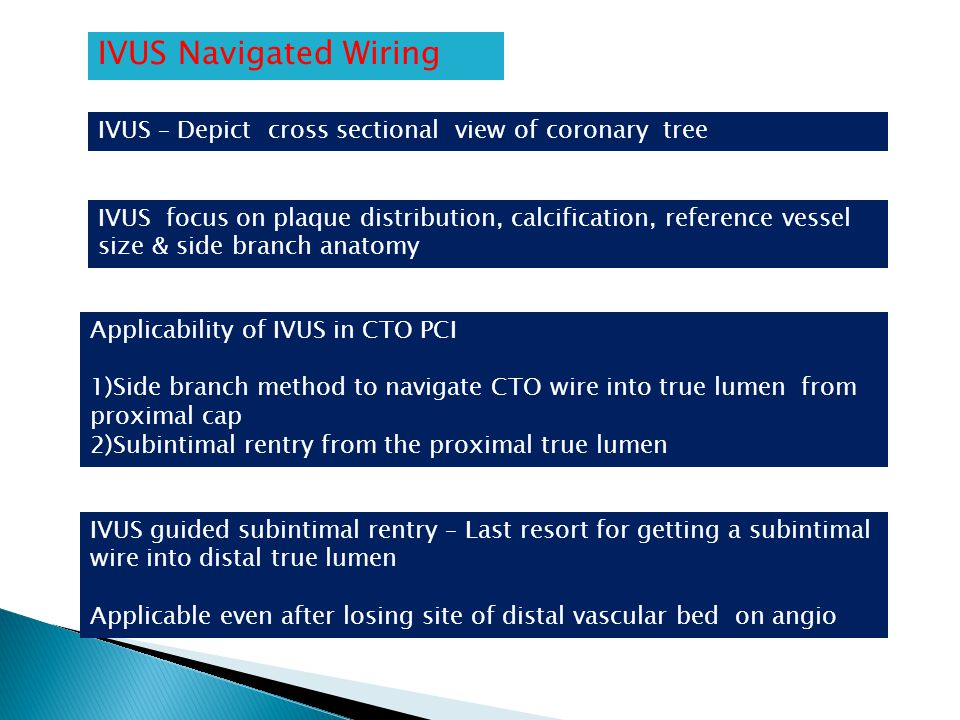 IVUS Navigated Wiring IVUS – Depict cross sectional view of coronary tree IVUS focus on plaque distribution, calcification, reference vessel size & si