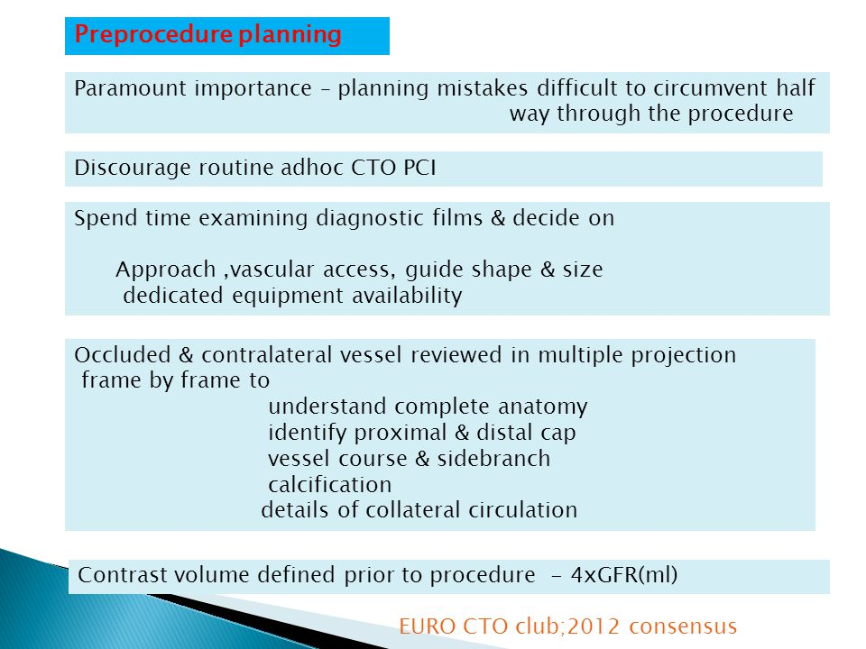 Preprocedure planning Paramount importance – planning mistakes difficult to circumvent half way through the procedure Spend time examining diagnostic films & decide on Approach,vascular access, guide shape & size dedicated equipment availability Discourage routine adhoc CTO PCI Occluded & contralateral vessel reviewed in multiple projection frame by frame to understand complete anatomy identify proximal & distal cap vessel course & sidebranch calcification details of collateral circulation Contrast volume defined prior to procedure - 4xGFR(ml) EURO CTO club;2012 consensus
