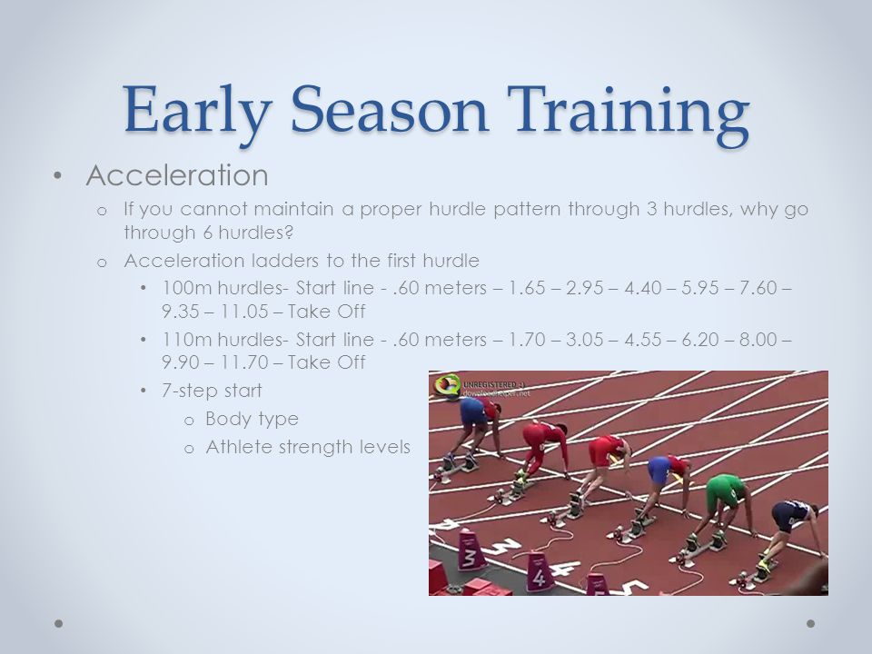Unique elements Race conditions o Prepare your athlete for any conditions Experiment with race patterns and starting with the opposite block setting o Wind, rain, heat…all will take an effect on the stride pattern of an athlete Athlete preparation o Have a desired stride pattern o Talk to athlete about adjustments that may need to be made o Confidence is created through preparation Ability to hurdle with either lead leg Ability to adjust on the fly