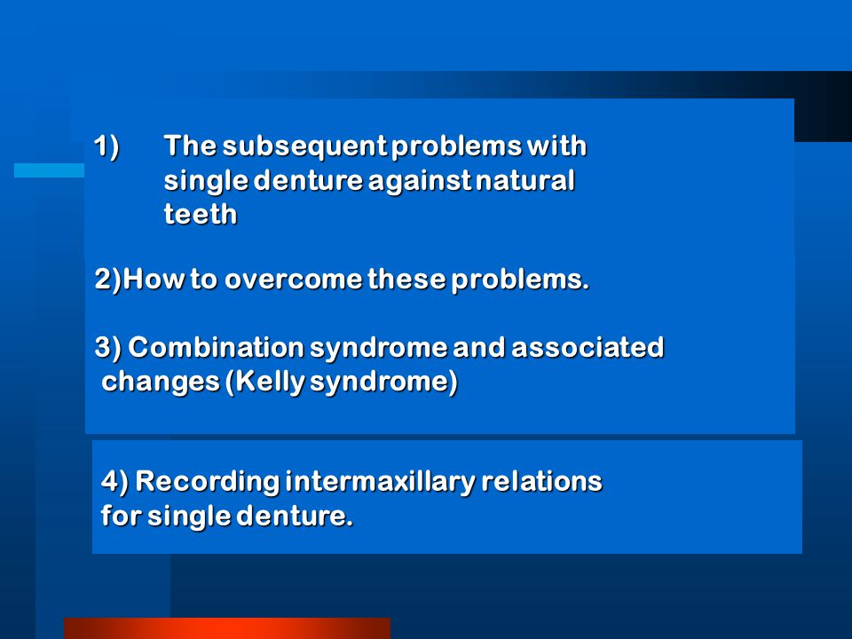 1)The subsequent problems with single denture against natural teeth 2)How to overcome these problems.