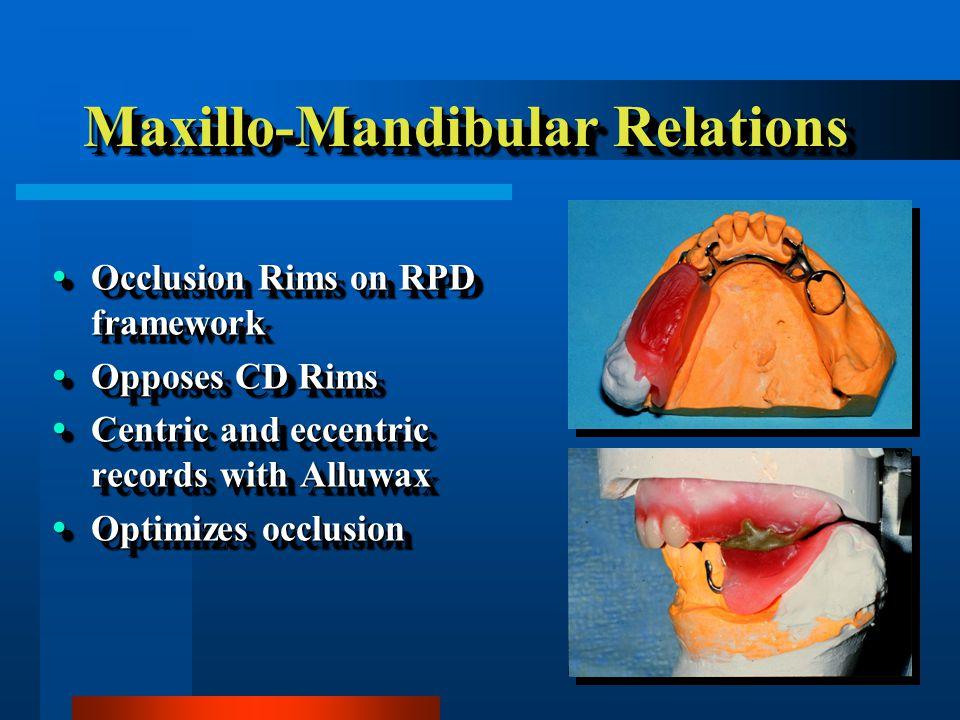 Maxillo-Mandibular Relations Occlusion Rims on RPD framework Occlusion Rims on RPD framework Opposes CD Rims Opposes CD Rims Centric and eccentric records with Alluwax Centric and eccentric records with Alluwax Optimizes occlusion Optimizes occlusion Occlusion Rims on RPD framework Occlusion Rims on RPD framework Opposes CD Rims Opposes CD Rims Centric and eccentric records with Alluwax Centric and eccentric records with Alluwax Optimizes occlusion Optimizes occlusion