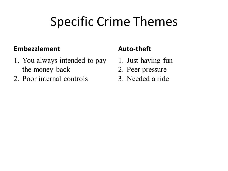 Specific Crime Themes Embezzlement 1.You always intended to pay the money back 2.Poor internal controls Auto-theft 1.Just having fun 2.Peer pressure 3.Needed a ride