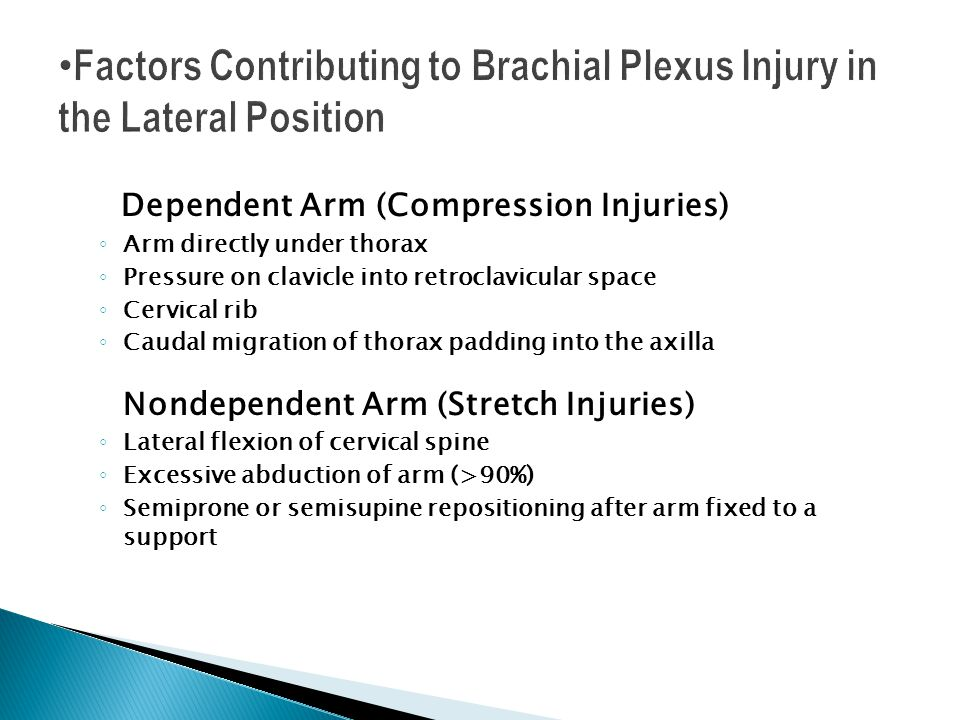 Dependent Arm (Compression Injuries) Arm directly under thorax Pressure on clavicle into retroclavicular space Cervical rib Caudal migration of thorax