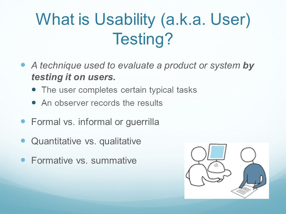 What is Usability (a.k.a. User) Testing.