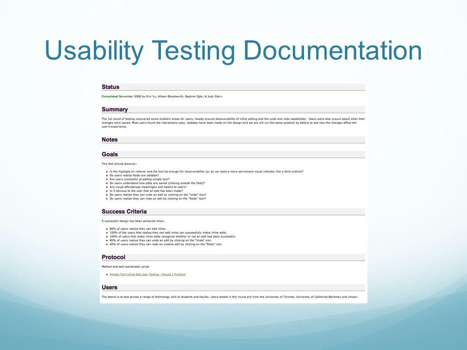 Usability Testing Documentation