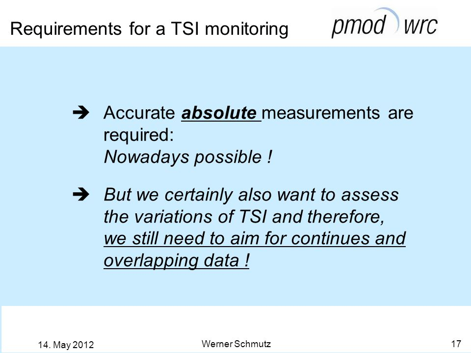 Requirements for a TSI monitoring Werner Schmutz