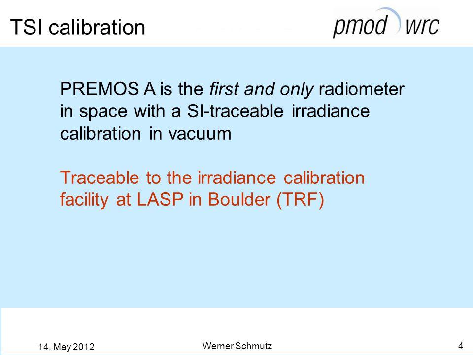 Traceability of PREMOS-TSI Werner Schmutz 5 14.May 2012 PREMOS B Comparison to cryogenic rad.