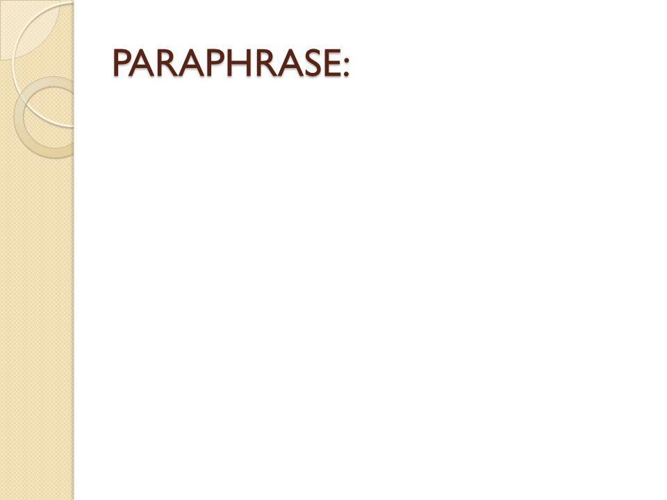 PARAPHRASE: