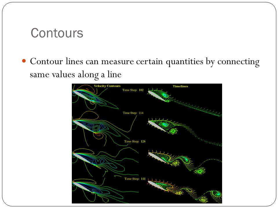 Contours Contour lines can measure certain quantities by connecting same values along a line
