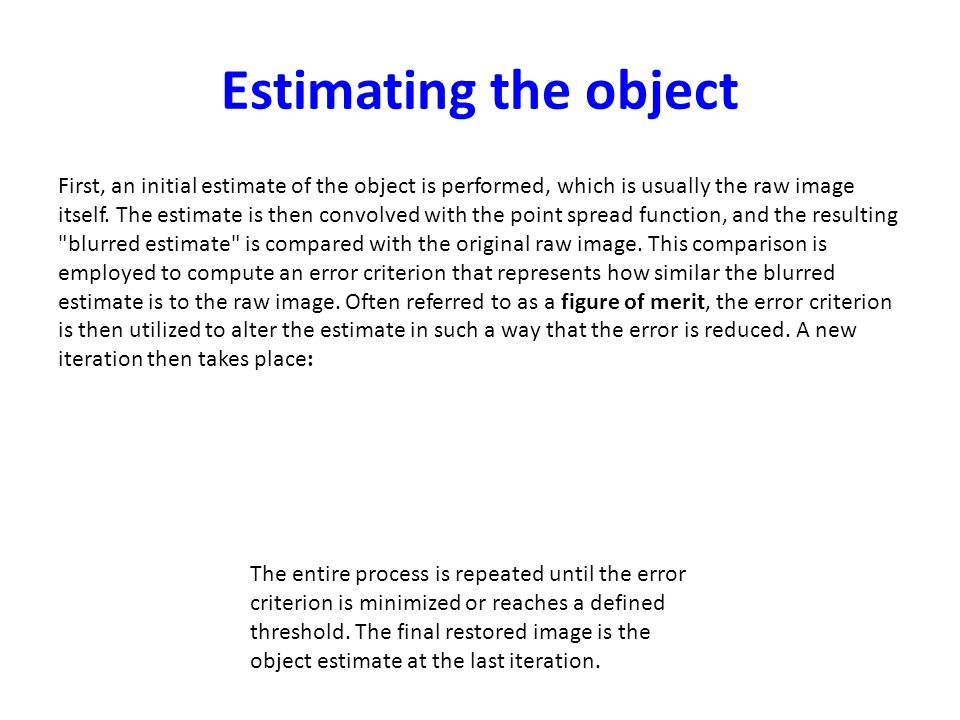 Estimating the object First, an initial estimate of the object is performed, which is usually the raw image itself. The estimate is then convolved wit