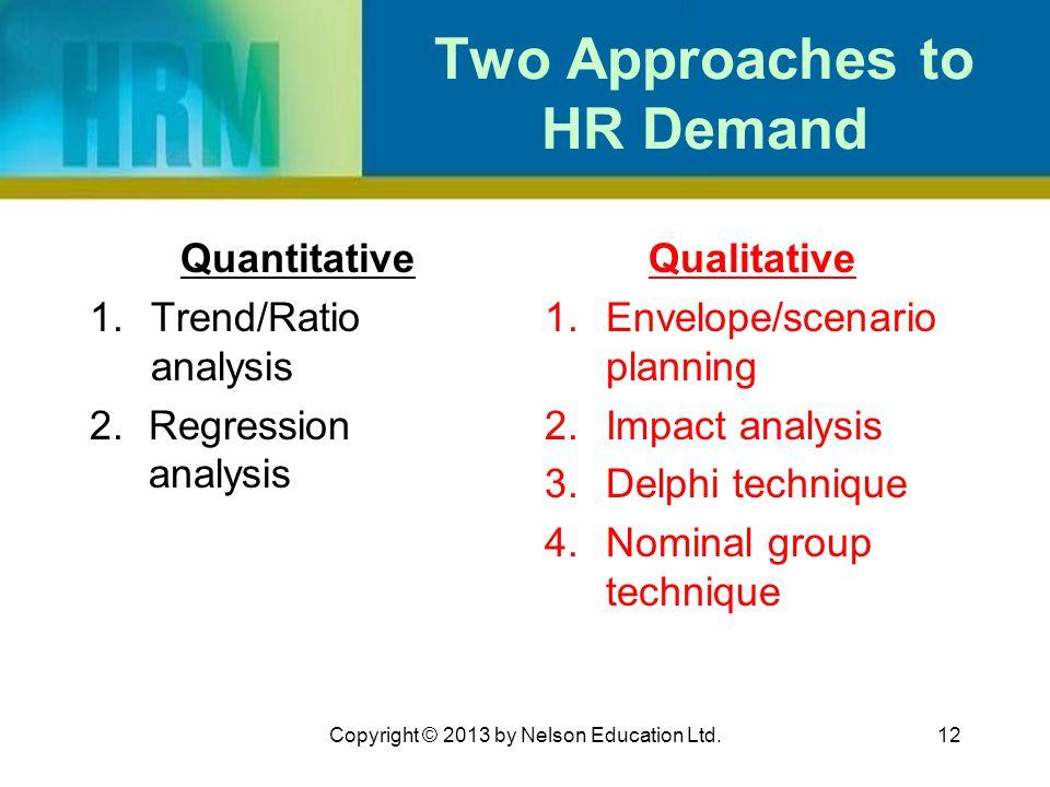 12 Two Approaches to HR Demand Quantitative 1.Trend/Ratio analysis 2.Regression analysis Qualitative 1.Envelope/scenario planning 2.Impact analysis 3.