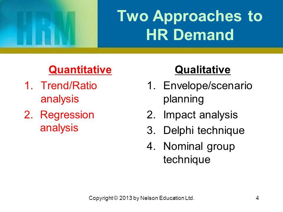 4 Two Approaches to HR Demand Quantitative 1.Trend/Ratio analysis 2.Regression analysis Qualitative 1.Envelope/scenario planning 2.Impact analysis 3.D