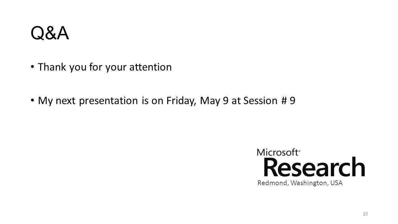 Q&A Thank you for your attention My next presentation is on Friday, May 9 at Session # 9 23 Redmond, Washington, USA