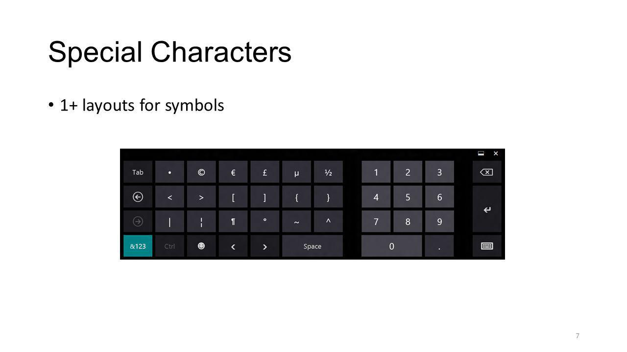 Special Characters 1+ layouts for symbols 7