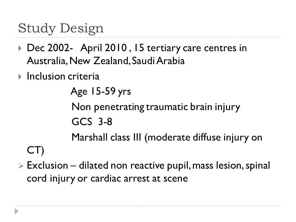 Study Design Dec 2002- April 2010, 15 tertiary care centres in Australia, New Zealand, Saudi Arabia Inclusion criteria Age 15-59 yrs Non penetrating t