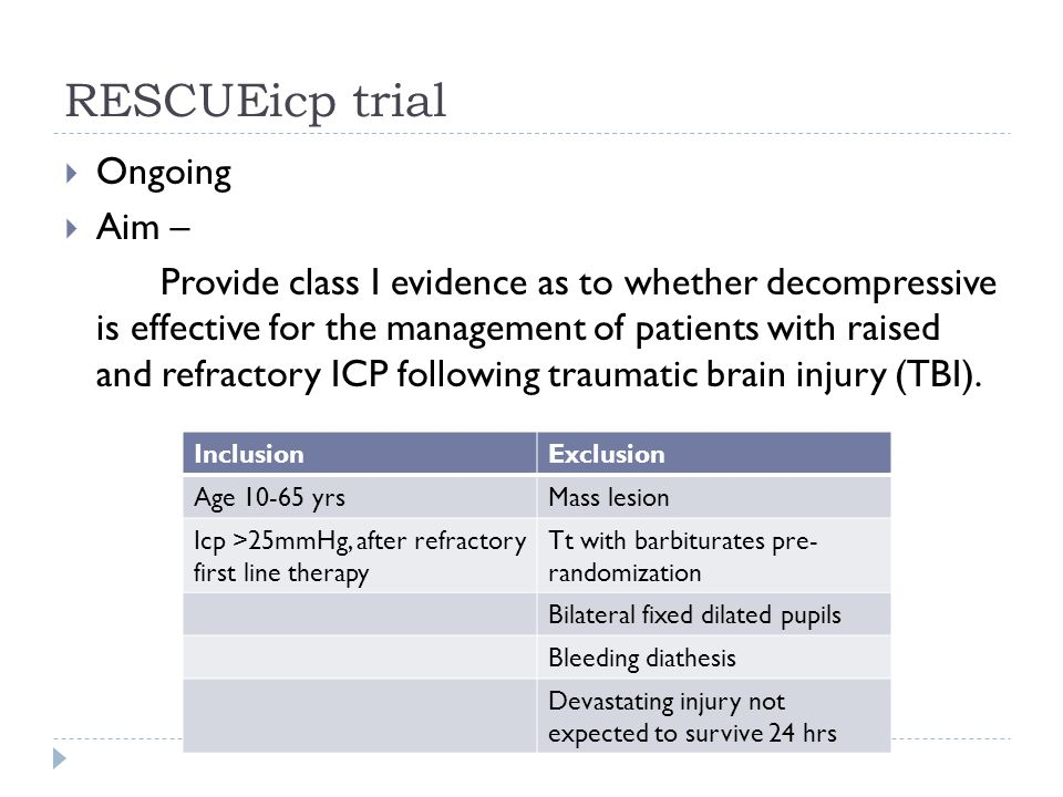 RESCUEicp trial Ongoing Aim – Provide class I evidence as to whether decompressive is effective for the management of patients with raised and refractory ICP following traumatic brain injury (TBI).