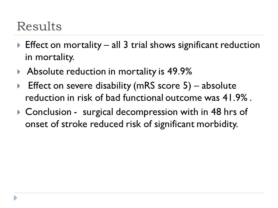 Results Effect on mortality – all 3 trial shows significant reduction in mortality.