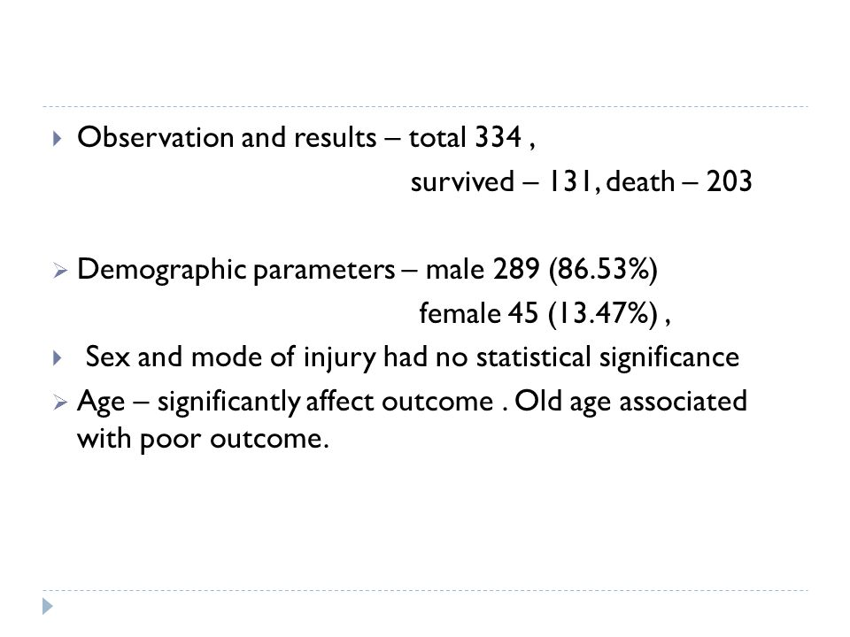 Observation and results – total 334, survived – 131, death – 203 Demographic parameters – male 289 (86.53%) female 45 (13.47%), Sex and mode of injury had no statistical significance Age – significantly affect outcome.