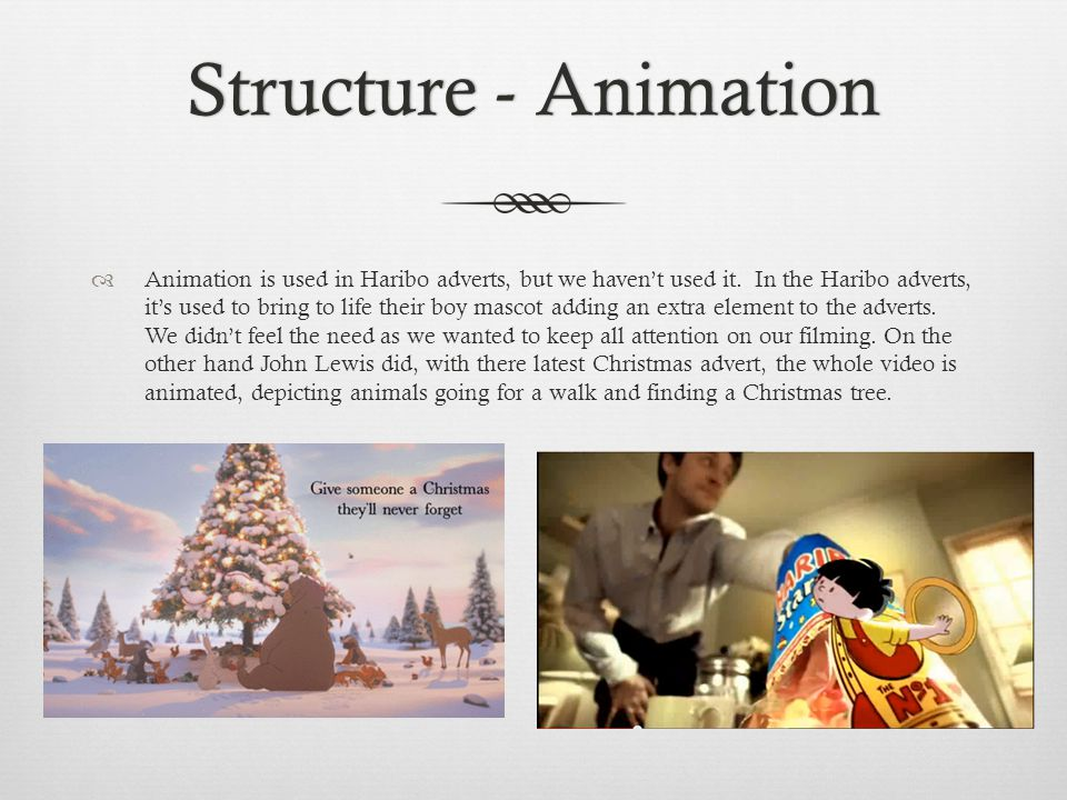 Structure - AnimationStructure - Animation Animation is used in Haribo adverts, but we havent used it.