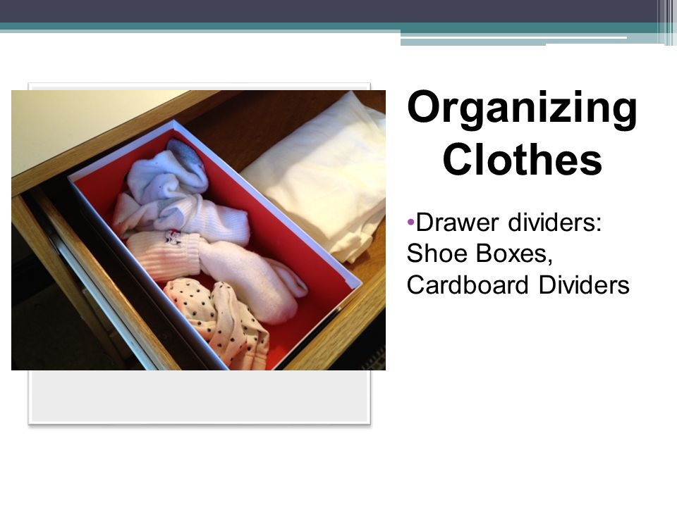 Organizing Clothes Drawer dividers: Shoe Boxes, Cardboard Dividers